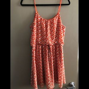 Francesca's Orange patterned dress Sz Medium